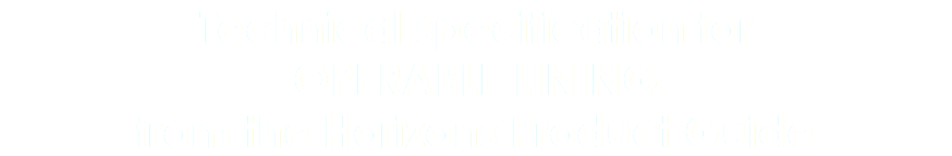 Technical specification for OPERABLE LINING from the Horizons Product Guide